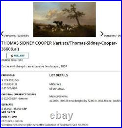 Thomas Sidney Cooper Huge Large Fine Antique Oil Painting of Cattle Cows Signed