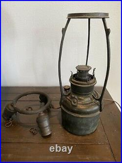 Very Rare Handel Oil Lamp Base For Leaded, Painted Glass Shade Tiffany Era