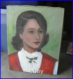 Vintage 1950s V Piersol Oil Painting Portrait Woman with Holly on Shirt