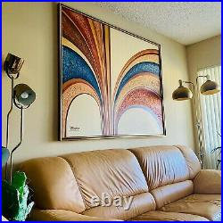 Vintage 70s Signed Letterman Abstract Geometric Art Oil Canvas Mcm 50x62