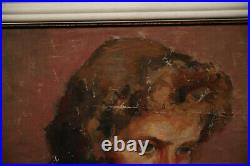 Vintage American Antique Painting Beautiful Young Lady Shameful Girl Portrait