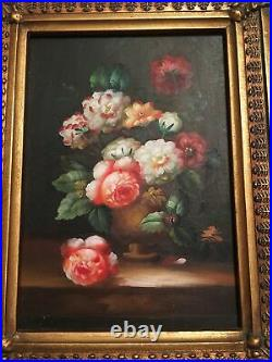 Vintage Antique Pair Of Beautiful Small Floral Still Life Oil Paintings. Framed