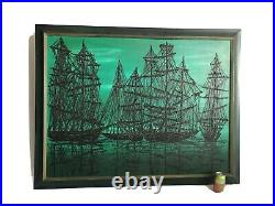 Vintage Mid Century MCM Lee Reynolds Style 1960s Drip Oil Painting of Ships
