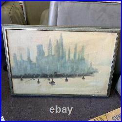 Vintage Painting Artwork Oil On Canvas Cityscape Skyline Richards LOCAL PICKUP