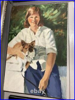 Vintage Portrait Oil Painting. On Canvas Woman With Dog