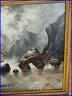Vintage Possibly Antique Oil on Canvas Seascape Oil Painting with Ship