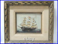 Vintage Sailing Ship French Flag Signed Oil Painting Antique Nautical Marine