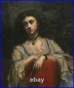 Wm Holyoake, Portrait of a Spanish Lady, 19thC Signed Large Antique Oil Painting